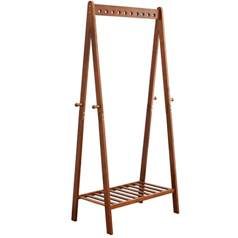 Amazon.com: ZHIRONG Perchero de madera independiente con 4 ...