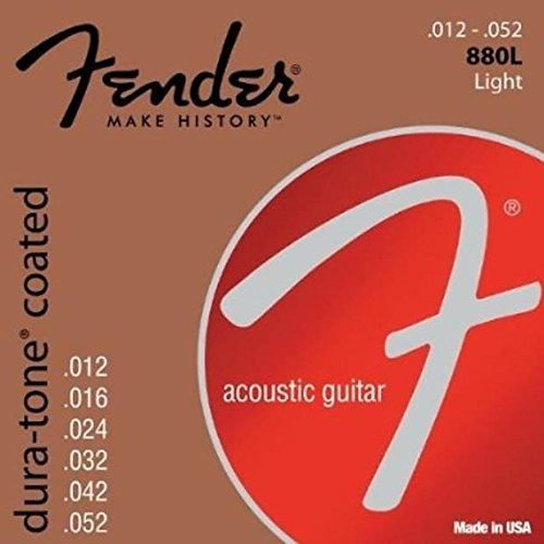 New Fender 880L Dura-Tone Coated Light 12-52 Acoustic Guitar Strings, 073-0880-303 - Made in the USA!