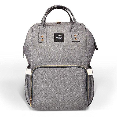 HEYI Diaper Bag Backpack Travel Large Spacious Tote Shoulder Bag Organizer (Linen gray)