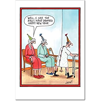 Amazon.com : 1564 \'bDropped\' - Funny New Year Greeting Card with 5 ...