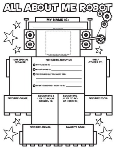 Graphic Organizer Posters: All-about-Me Robot: 30 Fill-in Pe