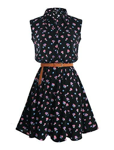 Allegra K Women Floral Prints Sleeveless Belted Shirt Dress XS Black