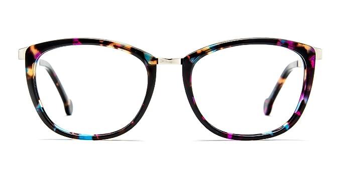 d30c41c84a53e Amazon.com  TIJN Women Chunky Floral Oval Full-rim Eyeglasses 52-18 ...
