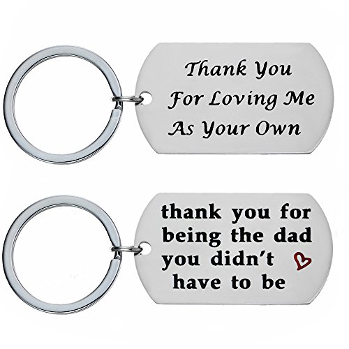 Dad Gifts Keychains for Father in Law Thank You Dog Tag Stepdad Gifts Step Dad Keychain Pack of 2