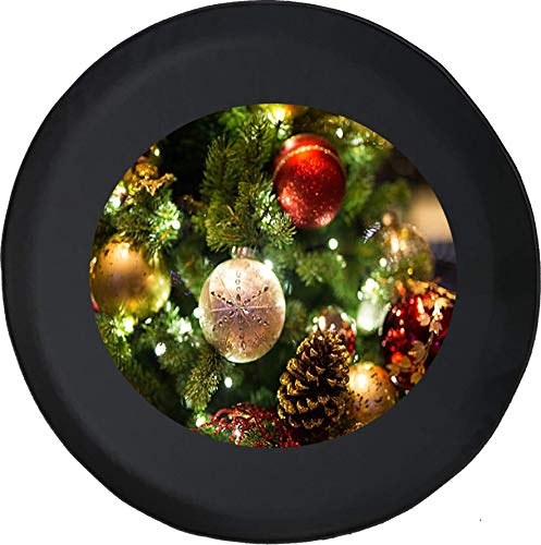 (556 Gear Christmas Ornaments Lit Up on a Christmas Tree Holiday Spirit Joy Jeep Spare Tire Cover Black 31 in)
