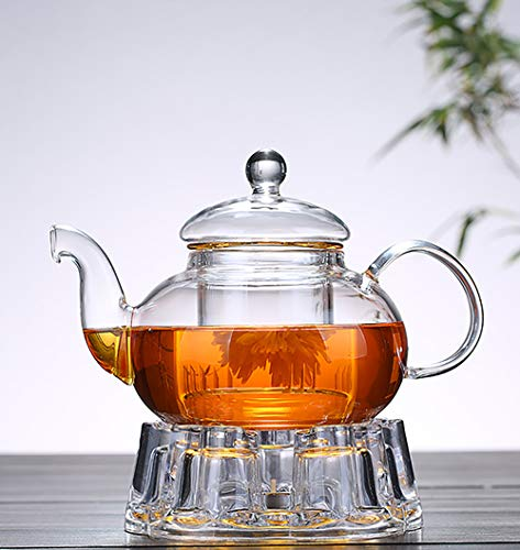1000ml Clear Glass Teapot with Infuser and Heart Shaped Crystal Glass Warmer Base Glass Filtering Tea Maker Teapot with Strainer Blooming & Loose Leaf tea pot Mothers Friends -