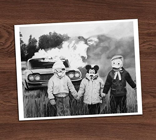Boys Kids and Burning Car Photo Vintage Art Print 8x10 Wall Art Halloween Costumes