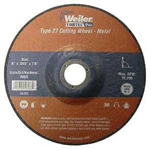 Weiler 804-56283 6 inch X . 045 inch Type 27 Thin Cutting Wheel, A60S, . 88 inch A. H.