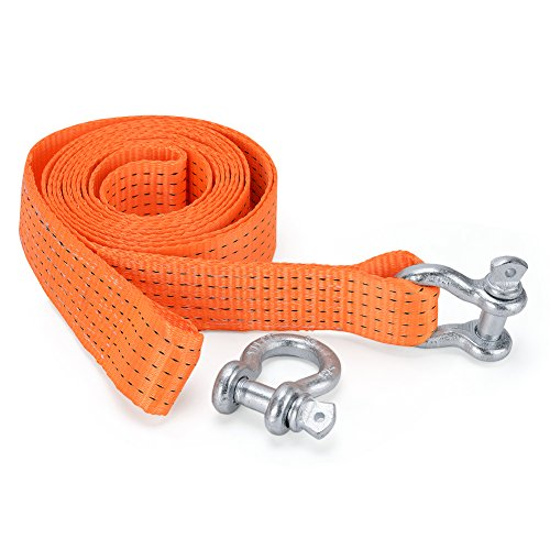 (YITAMOTOR Recovery Strap, Tow Strap with D Ring Shackle 2 Inch x 13 Ft Heavy Duty Nylon Tow Strap up to 10000 lbs for Off-Road Recovery and)