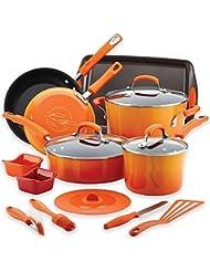 Rachael Ray Hard Enamel Nonstick 16-Piece Cookware Set in Gradient Orange