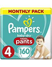 Pampers Baby-Dry Nappy Pants Size 4 Toddler, 160 Nappy Pants, 9-15kg, Monthly Pack