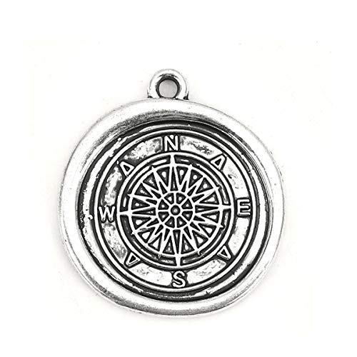 (PEPPERLONELY 20pc Antiqued Silver Alloy Wax Seal Charms Compass Charms Pendants 25x23mm (1
