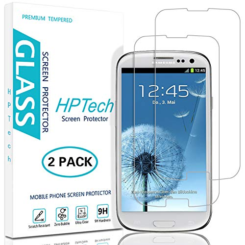 HPTech Galaxy S3 Screen Protector - (2-Pack) for Samsung Galaxy S3 Tempered Glass Screen Protector Bubble Free 9H Hardness with Lifetime Replacement - Phone Galaxy Protector S3