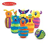 """Melissa & Doug Monster Bowling Game, Plush 6-Pin Bowling Game with Carrying Case, Weighted Bottoms, 7 Pieces, 9"""" H x 8.5"""" W x 7"""" L"""