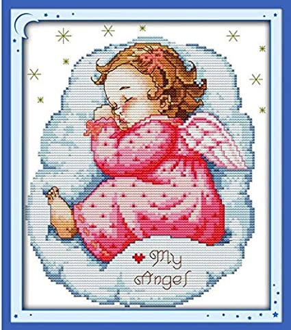 A Sleep Angel Baby 1 boy Cross Stitch Kits 14ct 11ct Embroidery Sewing Patterns kit DIY Handmade Needlework Decoration NKF Boy - Printed Canvas - 11ct 3 Stands Thread