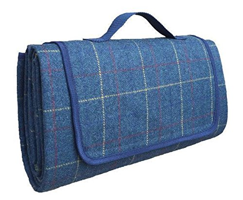 Luxury Blue Tweed Picnic Blanket by Red Hamper
