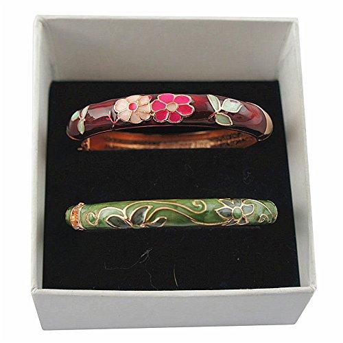 UJOY Designer Womens Elegant Bangle Cloisonne Bracelets Gold Flower Enameled Jewelry for Birthday Gift 55A42-B06 Green-WineRed