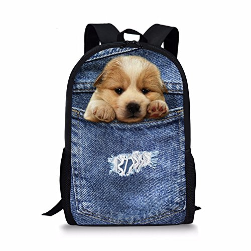 Cozeyat Pet Dog Print Backpack Cute Puppy School Bag Creative Design Bookbag for Kids Boys Girls