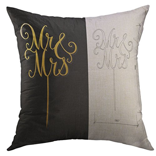 (Mugod Pillow Cover Die Cut Cake Topper Laser Words 'Mr Mrs' Cutout Silhouette for Unique Wedding The Table Sign is Suitable Home Decorative Throw Pillow Cushion Cover 16x16 Inch Pillowcase )