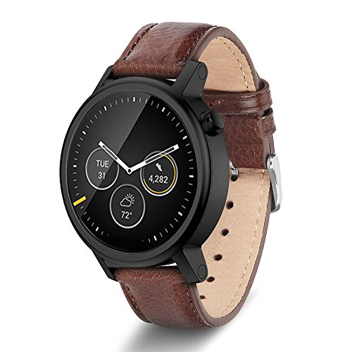 Moto 360 2nd Gen Band, Benuo [Vintage Series] Premium Genuine Leather Strap, Classy Replacement Band with Metal Buckle Clasp, Quick Release Pin Smart Watch Strap for Moto 360 2 (42mm, Dark Brown)