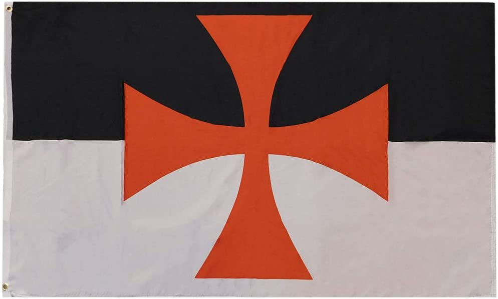 Trade Winds Templar Knights Crosses Premium Quality Heavy Duty Fade Resistant 100D Woven Poly Nylon 3x5 3'x5' Flag Banner