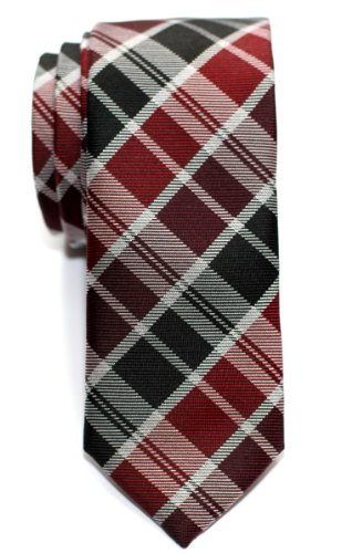 Retreez Modern Tartan Plaid Check Styles Woven Microfiber Skinny Tie - Burgundy and Black (Polyester Tie Red Plaid)