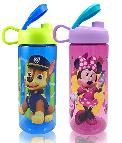 Kids Girls Boys Disney Drink Water Bottles Deluxe Gift Set, Minnie and Paw Patrol 2 Count 16.5oz 487ml Approved BPA Free