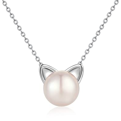 Amazon pearl cat necklace sterling silver cat necklace pearl cat necklace sterling silver cat necklace freshwater cultured pearl cat charm necklacenaughty cute aloadofball Gallery