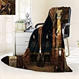 vanfan Silky Soft Plush Warm Blanket Autumn Winter Decor Dark Mystic Ancient Hall Pillars Christian Cross Dome Shrine Church,Silky Soft,Anti-Static,2 Ply Thick Blanket. (80''x60'')