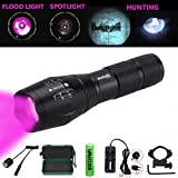 VASTFIRE Focusable Infrared Flashlight Kit Night Vision IR Light Torch use for Coyote Hog Wild Pig Varmint Predator Deer Hunting with Gun Mount to Rail AR 15 Rifle NOT Regular Flashlight BUT Infrared