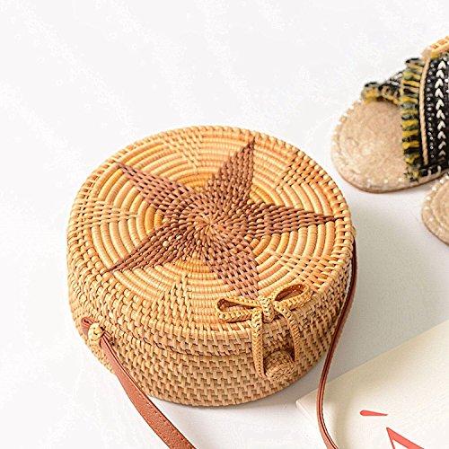 des plage en cuir de foncee TOOGOO d'ete a en de femmes tisse avec l'etoile bandouliere rond couleur Sac rotin de strap panier Sac pour de wwUaqH8x6