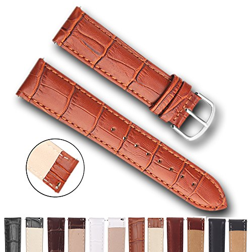 Top Grain Leather Watch Band, Quick Release Watch Bands, Replacement Watch Bands for Men and Women, Easy Swap, Change in Seconds [21mm Brown] 21 Gator Spring