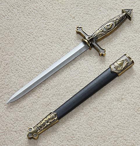 S0383 Prince Charles Masonic Dagger Knife Sword Straight Blade Black Version 16