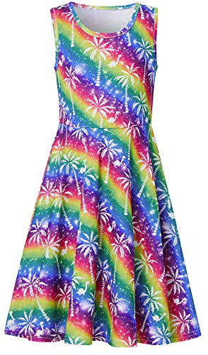 Girls Sleeveless Dress 3D Print Cute Galaxy Tropical Aloha Hawaiian Coconut Tree Rainbow Striped Pattern Summer Dress Casual Swing Theme Birthday Party Sundress Toddler Kids Twirly Skirt
