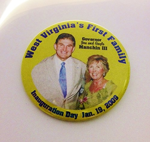 "Joe & Gayle Manchin III Political Pin Back Button ""West Virginia's FIrst Family Governor Joe and Gayle Manchin III Inauguration Day Jan. 19, 2009"" (3"" Wide)"
