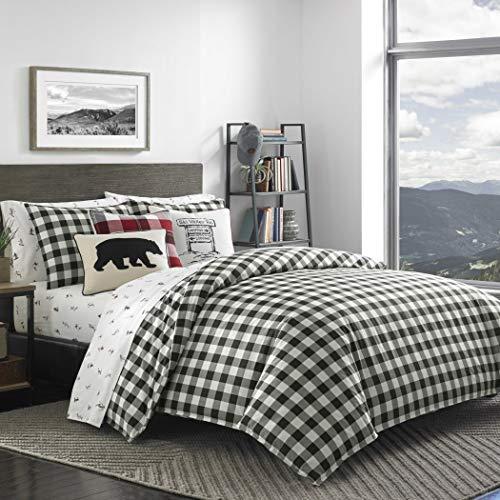 (MS 3pc Black White Grey Gingham Plaid Themed Comforter Full Queen Set, Classic Checkered Tattersail Tartan Theme Pattern, Cotton Gray, Lodge Cabin Shepherds Check Bedding)