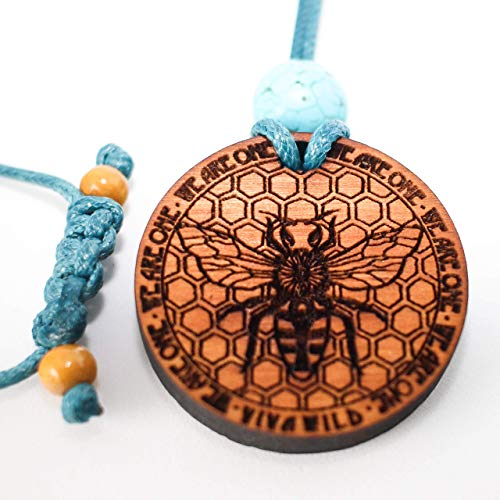 Lil Power Honey Bee Spirit Animal Wooden Medallion Vegan Necklace with Egyptian Anhk Moon phases and affirmations for Empowerment