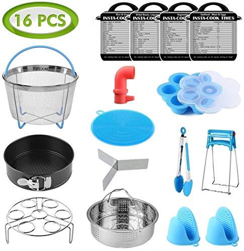 16 Pcs Instant Pot Accessories Set Fits 6,8Qt - 2 Steamer Baskets, Non-stick Springform Pan, Egg/Steamer Rack, Egg Bites Mold, Tong, Mitts, Magnetic Cheat Sheets, Steam Release, Sponge, PerfeCome