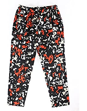 Calvin Klein Red Womens Large Printed Drawstring Pants Black L