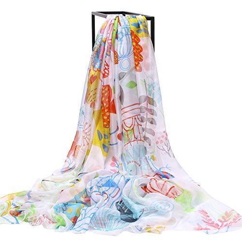 Multi Floral Scarf - Silk Like Scarf Large Chiffon Headscarf Bird Pattern Wrap Neck Scarves for Women 78