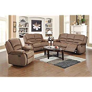 US Pride Furniture 3 Piece Light Brown Fabric Reclining Sofa Loveseat u0026 Chair Set  sc 1 st  Amazon.com & Amazon.com: US Pride Furniture 3 Piece Light Brown Fabric ... islam-shia.org