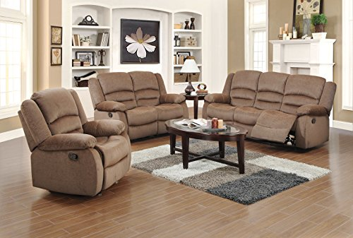 US Pride Furniture 3 Piece Brown Fabric Reclining Sofa, Chair & Loveseat Set