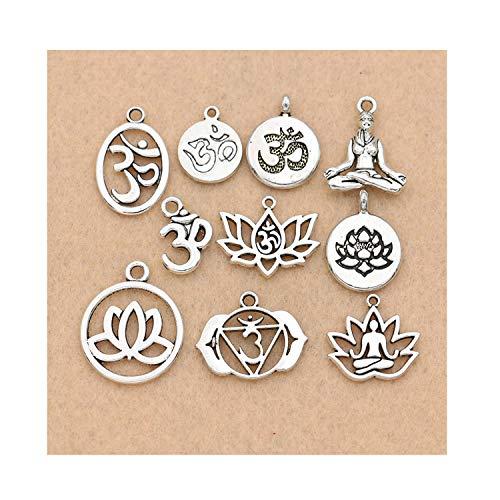 CAIYCAI Mixed Tibetan Silver Plated Yoga Charm Pendants Jewelry Bracelet Jewelry Findings DIY 10Pcs/Lot from CAIYCAI