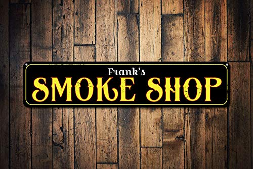 - rfy9u7 Smoke Shop Sign Personalized Name Cigar Store Sign Custom Cigar Lover Gift Metal Cigar Smoker Man Cave Sign Quality Aluminum