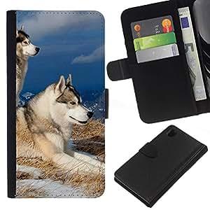 All Phone Most Case / Oferta Especial Cáscara Funda de cuero Monedero Cubierta de proteccion Caso / Wallet Case for Sony Xperia Z1 L39 // Swedish Vallhund Elkhound Wolf Dog
