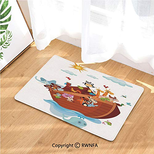 Rubber Back Extremely Durable Anti-Slip Floor Mat Noahs Ark Cartoon Style Snake Butterflies Bees Insects Fishes Toucan Wildlife for Kitchen Hallway Entrance Doormat Home Décor Runner Mat,Multicolor