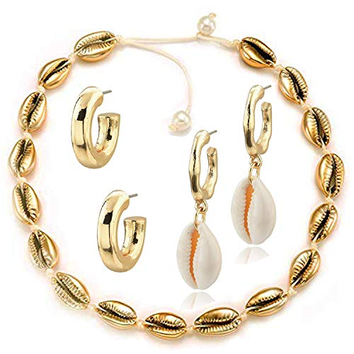 Spiritlele 3 Pack Sea Shell Choker Beach Necklace Earrings Set Gold Huggie Cowrie Earrings for Women (Choker Earrings)