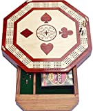 Christmas Gifts Octagon shape 4 Track Cribbage Board Game Set with 2 Decks Of Cards 12 Metal Pegs With Storage