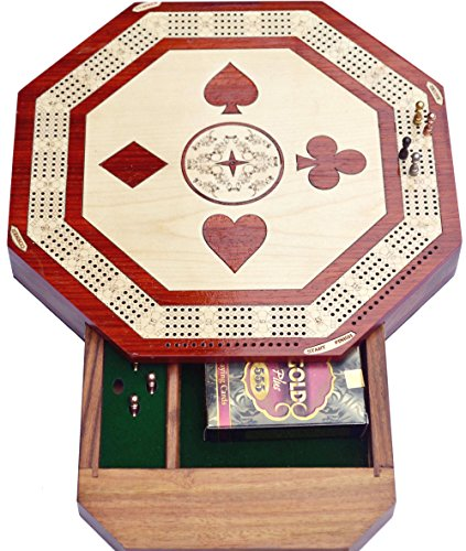 Christmas Gifts Octagon shape 4 Track Cribbage Board Game Set with 2 Decks Of Cards 12 Metal Pegs With Storage by chessbazar