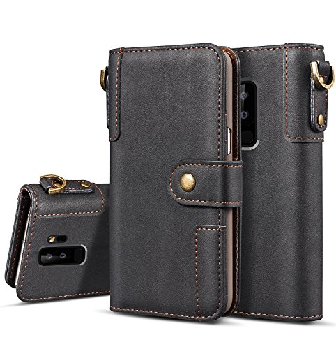 Galaxy S9 Plus Case, Pasonomi [Classic Style][Kickstand Feature] Cowhide leather wallet case with ID&Card Holder Slot Wrist Strap for Samsung Galaxy S9 Plus